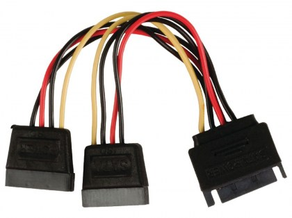 POWERTECH καλώδιο SATA 15pin male σε 2x 15pin female CAB-W012